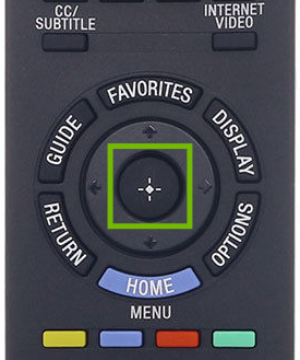 Remote inset with action button highlighted.