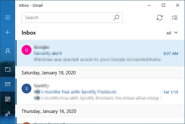 Windows Mail with messages loaded.