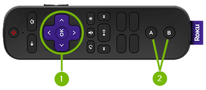 Gaming Controls pointed out on remote control.