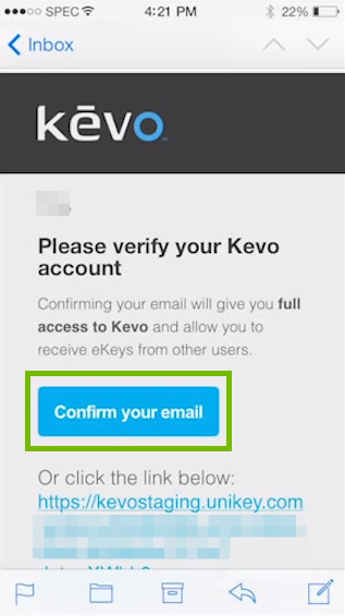 screenshot of email conformation with confirm your email button highlighted