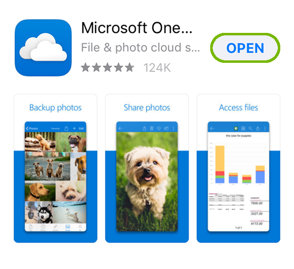 OneDrive App page with Open highlighted.