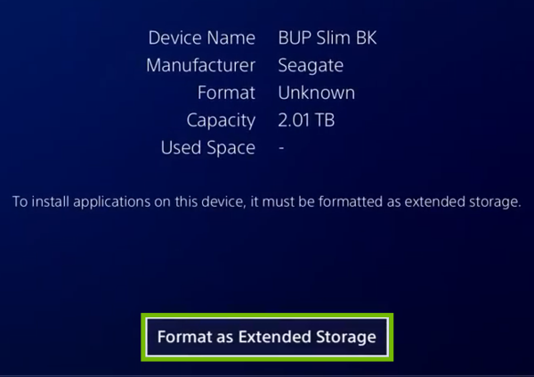 Drive menu with Format as Extended Storage highlighted.