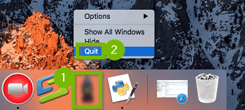 Dock with program context menu shown and Quit selected. Screenshot.