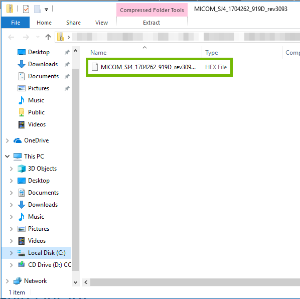Windows Explorer with zip file open with HEX file highlighted.