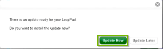 LeapFrog Connect software prompt to install an available update, with the update now button highlighted.