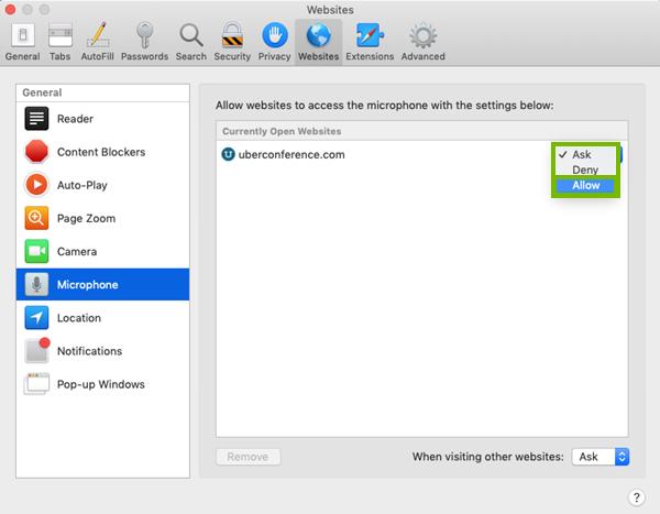 Dropdown menu for mac preferences