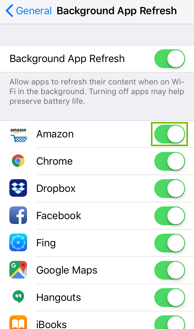 Background App Refresh settings with On Off toggle. Screenshot.