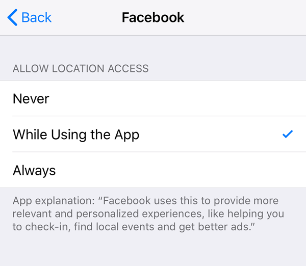 Facebook app location services options.
