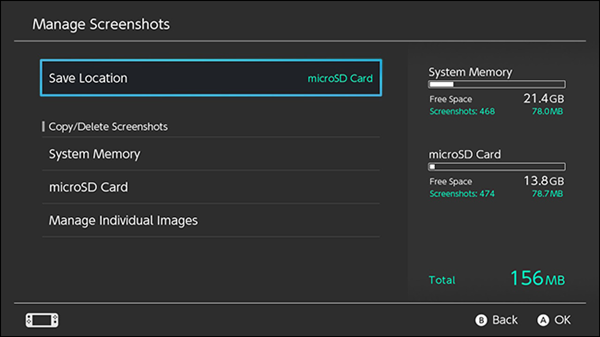 Switch manage screenshots menu
