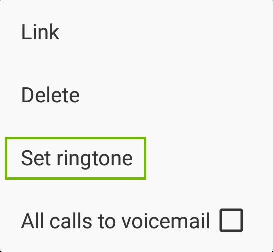 Menu with Set ringtone highlighted.
