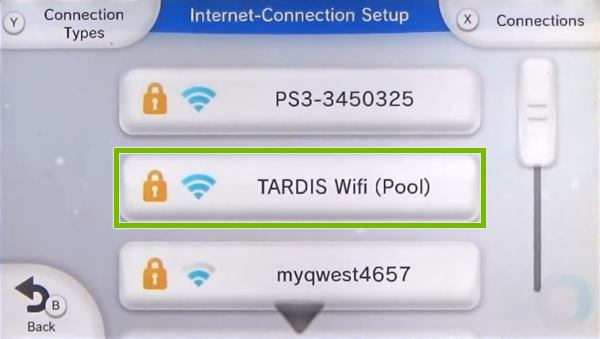 Nintendo Wii U Internet Connection setup menu displaying a list of available Wi-Fi networks.