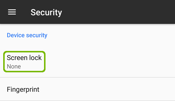 Security with Screen lock highlighted.