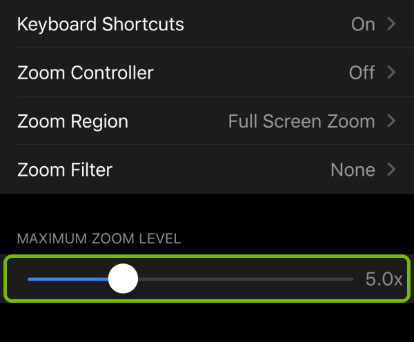Maximum zoom level slider highlighted in zoom settings on iOS.