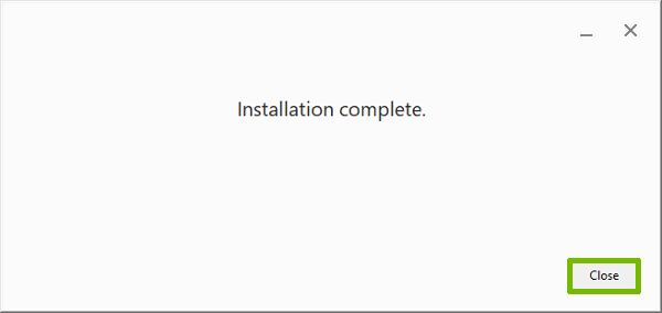 Installation complete with Close button highlighted.