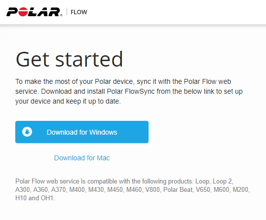 FlowSync software download scree on polar website. Screenshot.