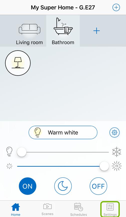 Settings tab highlighted in WiZ app.