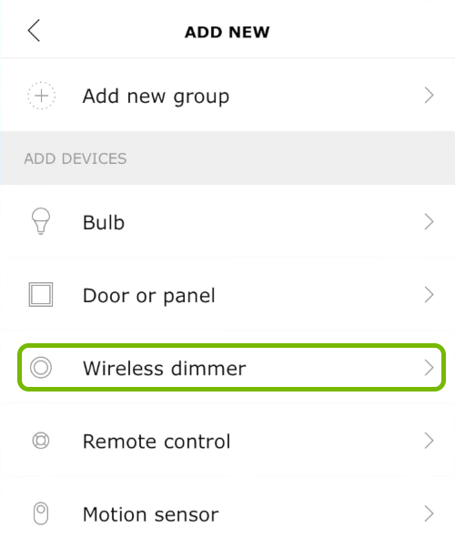 Wireless dimmer option highlighted in Ikea Tradfri app.