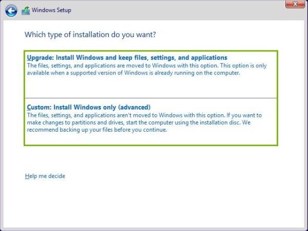 Upgrade and Custom install highlighted