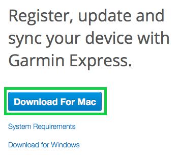 download for mac button highlighted on garmin website