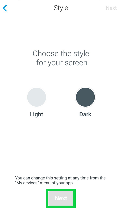 Withings Go style page asking what style you want your screen