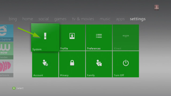 System option pointed out in Xbox 360 settings.
