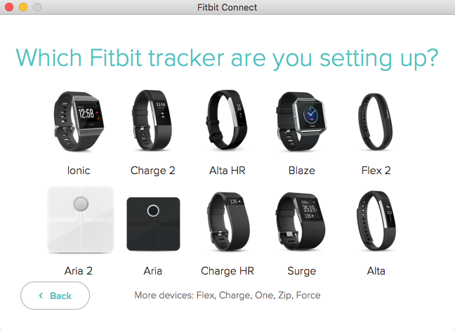 Fitbit Connect software with list of Fitbit trackers. Screenshot.