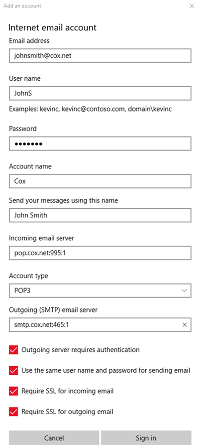 Cox email settings for pop3