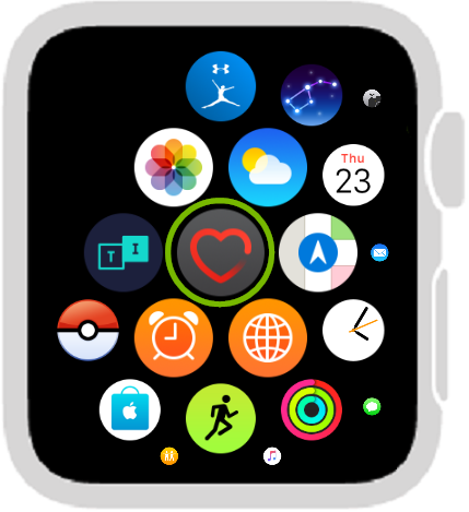 Apps with Heart Rate app highlighted. Screenshot