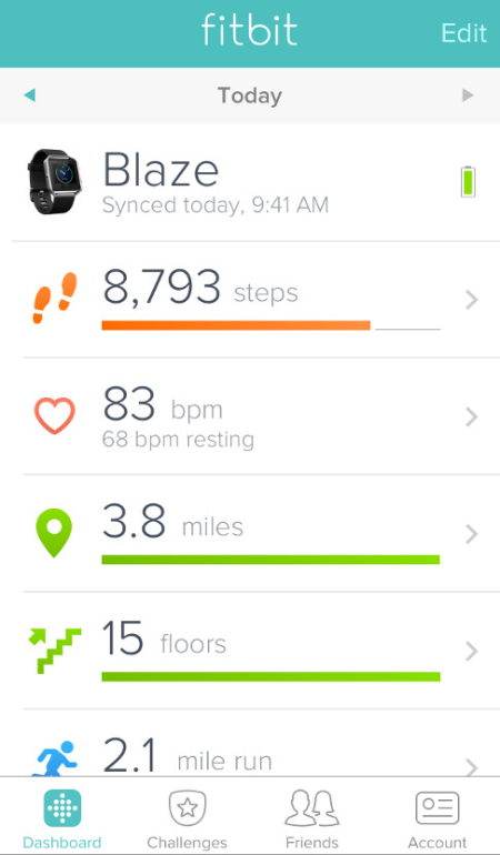 Fitbit dashboard with your fitness stats