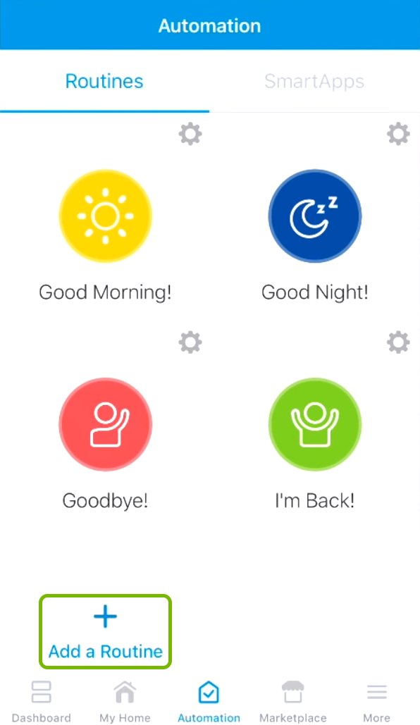 Add a Routine option highlighted in SmartThings app.
