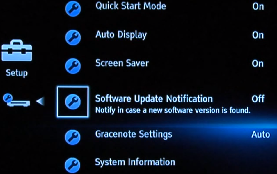 Blu-ray menu showing update notification setting