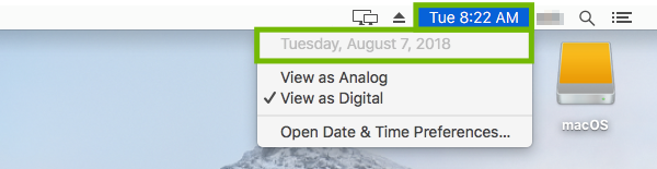 Mac Menu Bar with time menu and date highlighted.