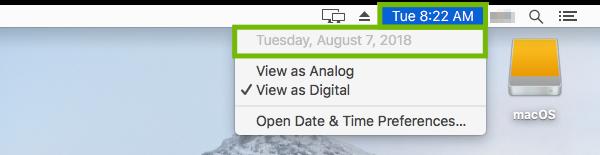 Mac Menu Bar with time menu and date highlighted.