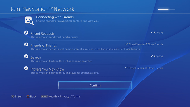 PlayStation Network connecting with friends customization screen.