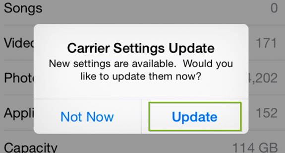 iOS carrier update prompt