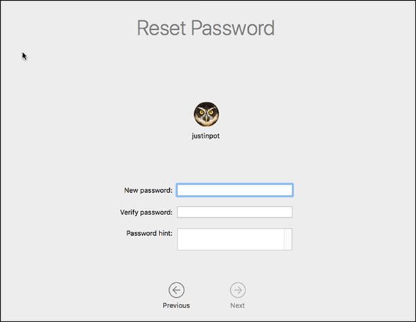 macOS reset passwords field