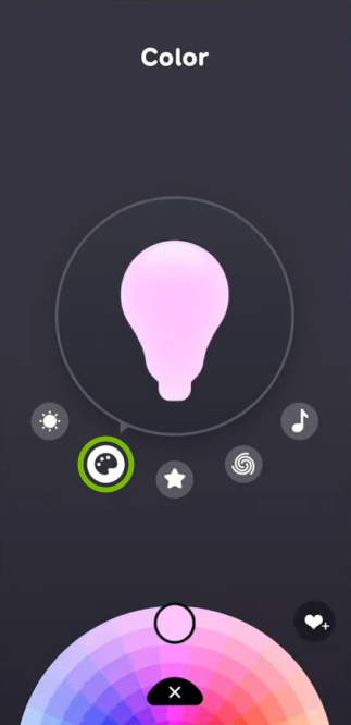 Palette icon highlighted for selected bulb in EufyHome app.