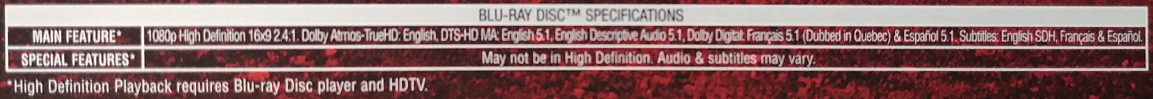 Example movie information from back of Blu-Ray movie.