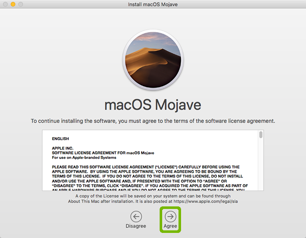 Mojave Licence Agreement with Agree highlighted.