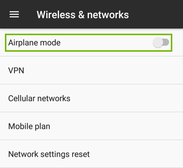 Wireless and networks airplane highlighted.