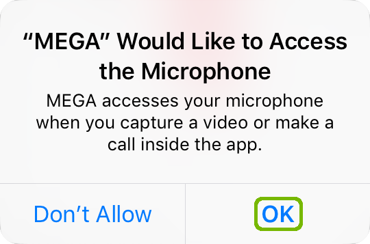 Mega Microphone access request with OK highlighted.