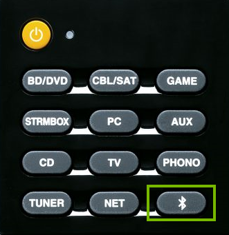 Onkyo remote showing the bluetooth button