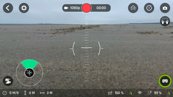 FPV button highlighted in FreeFlight Pro app.