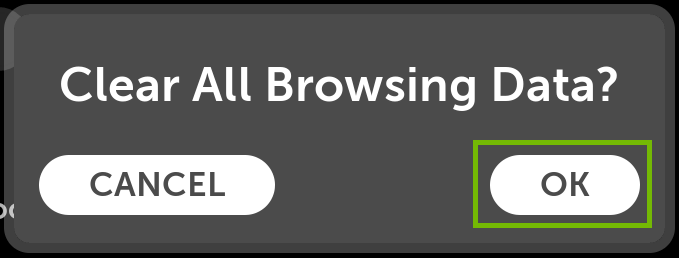 Clear all browsing data dialog with OK highlighted.