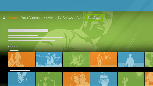Amazon fire tv main screen showing settings highlighted