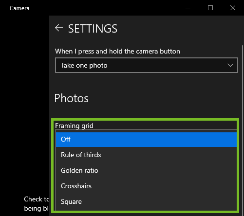 Framing grid settings