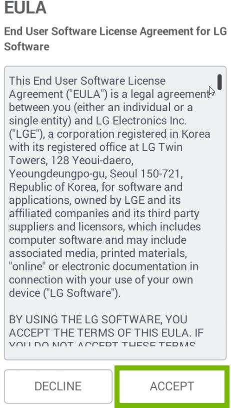 End User Software License Agreement with Accept selected. Screenshot.