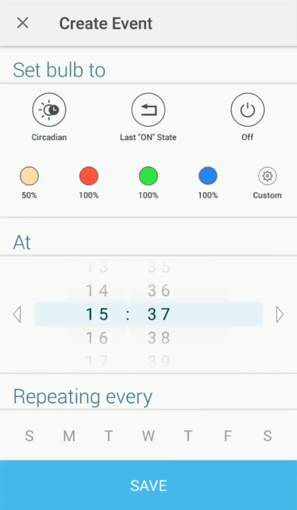 Event scheduling customization screen in Kasa app.