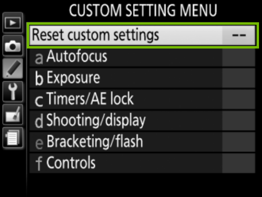 custom settings with reset custom settings highlighted