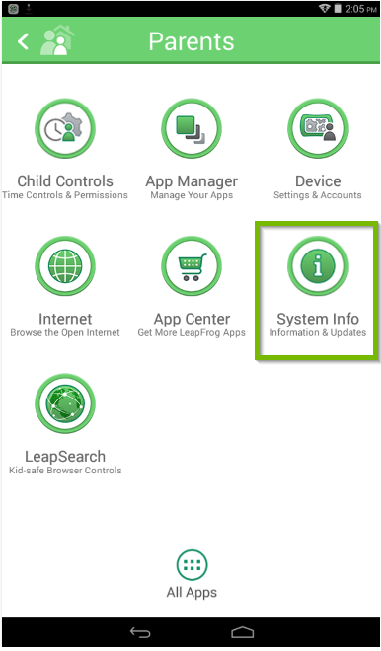 LeapFrog Epic's parents menu with the system info icon highlighted.